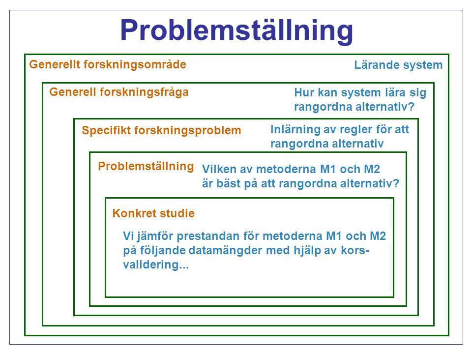 Problemställning Generellt forskningsområde Lärande system