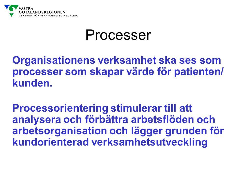 Processer Organisationens verksamhet ska ses som processer som skapar värde för patienten/ kunden.