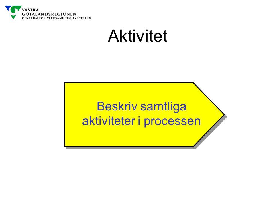 Beskriv samtliga aktiviteter i processen