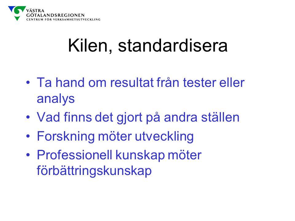 Kilen, standardisera Ta hand om resultat från tester eller analys