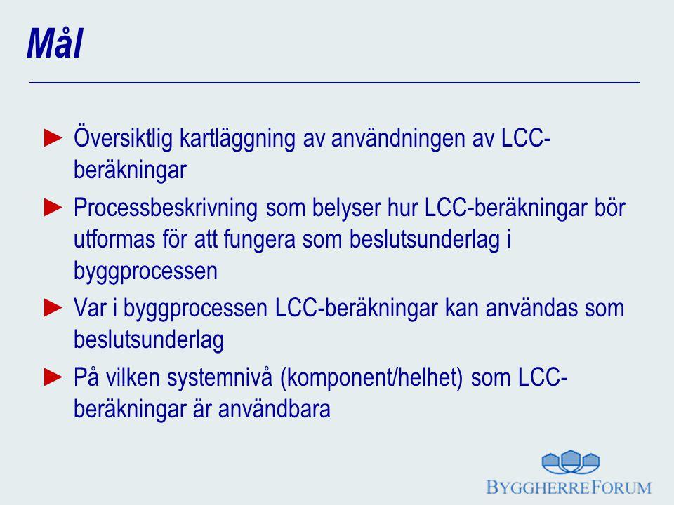 Mål Översiktlig kartläggning av användningen av LCC-beräkningar