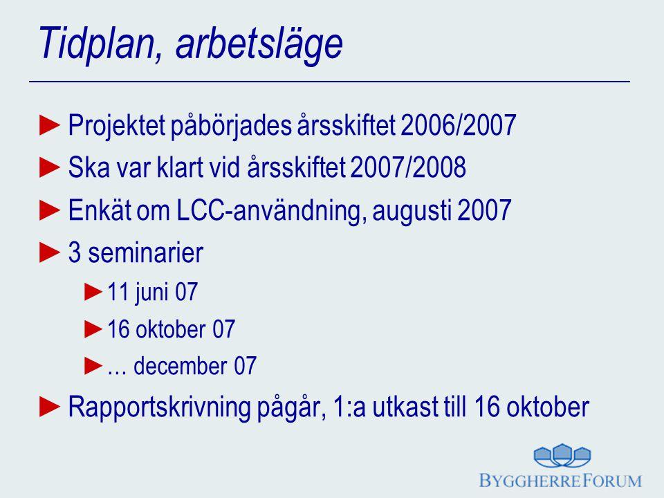 Tidplan, arbetsläge Projektet påbörjades årsskiftet 2006/2007