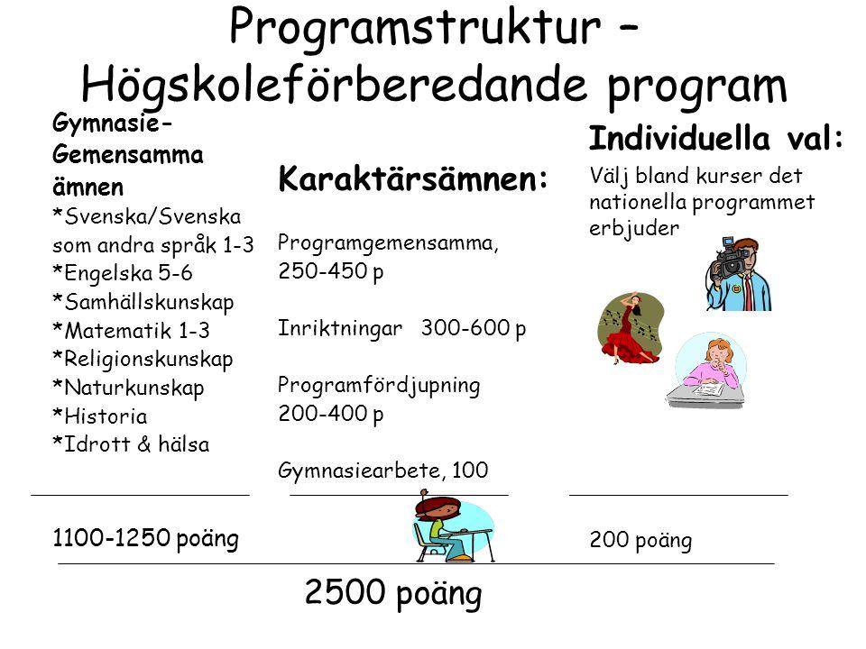 Programstruktur – Högskoleförberedande program