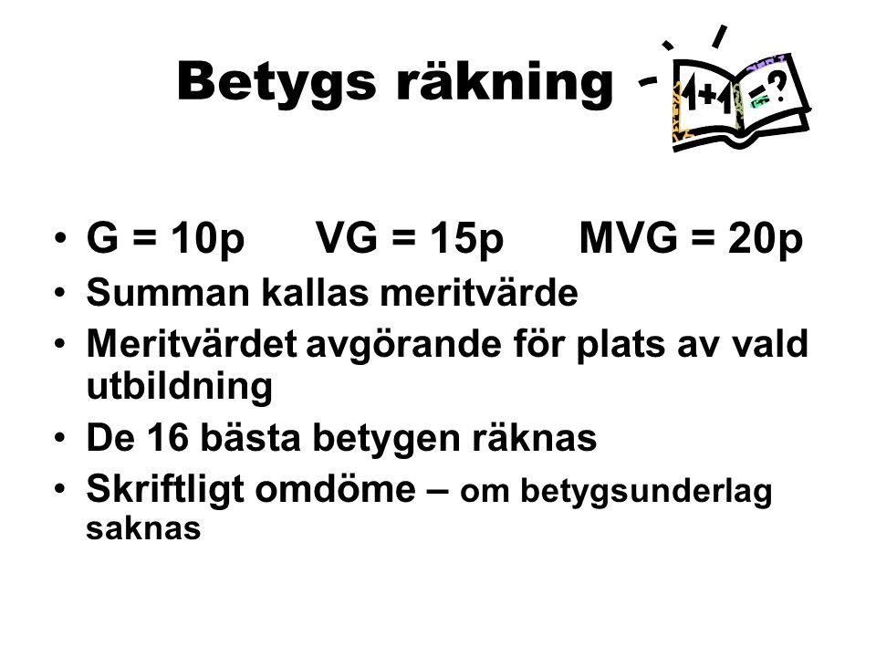 Betygs räkning G = 10p VG = 15p MVG = 20p Summan kallas meritvärde