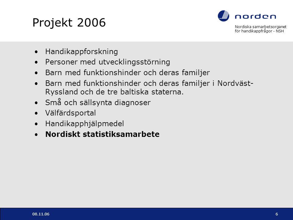 Projekt 2006 Handikappforskning Personer med utvecklingsstörning