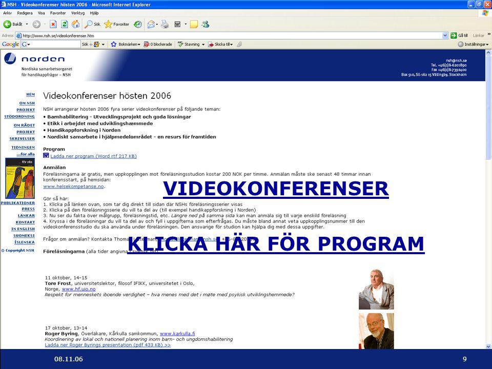 VIDEOKONFERENSER KLICKA HÄR FÖR PROGRAM