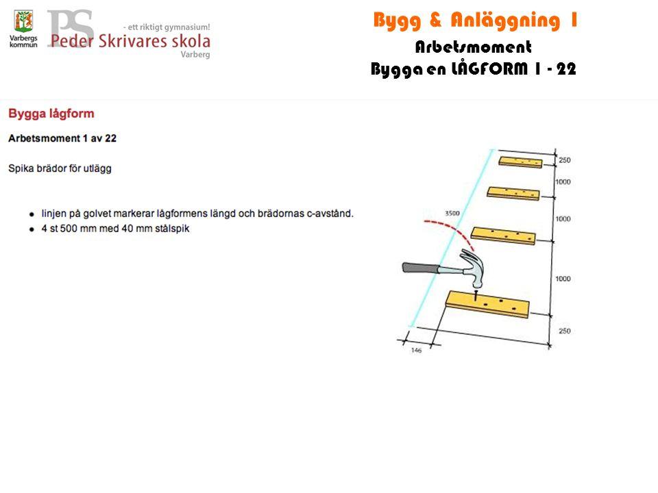 Bygg & Anläggning 1 Arbetsmoment Bygga en LÅGFORM 1 - 22
