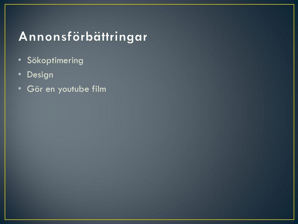 Annonsförbättringar Sökoptimering Design Gör en youtube film