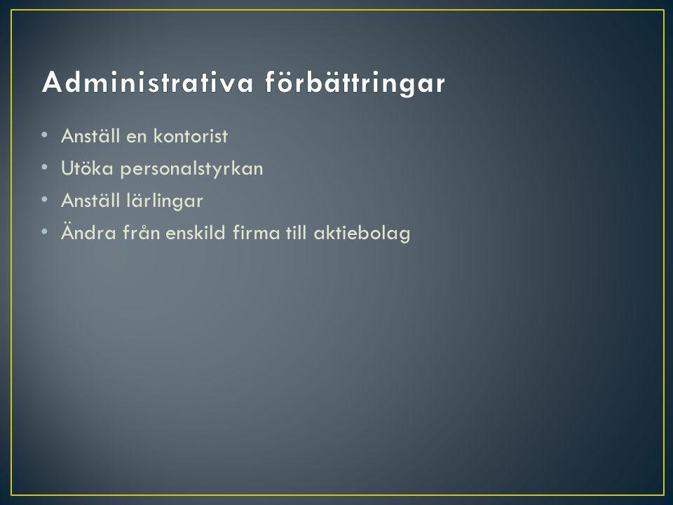 Administrativa förbättringar