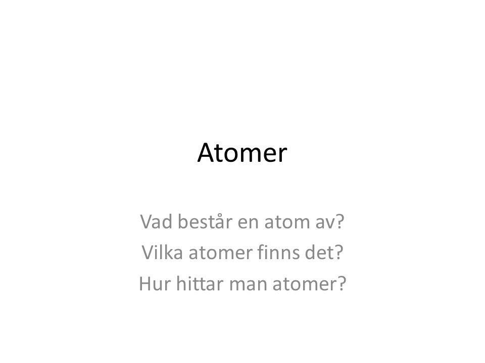 Vad består en atom av Vilka atomer finns det Hur hittar man atomer
