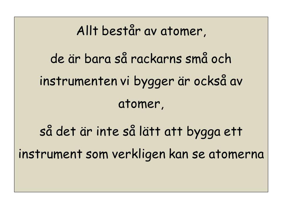 Allt består av atomer, de är bara så rackarns små och instrumenten vi bygger är också av atomer, så det är inte så lätt att bygga ett instrument som verkligen kan se atomerna