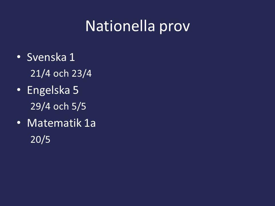 Nationella prov Svenska 1 Engelska 5 Matematik 1a 21/4 och 23/4