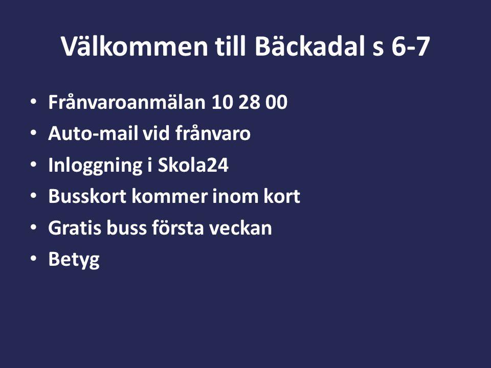 Välkommen till Bäckadal s 6-7