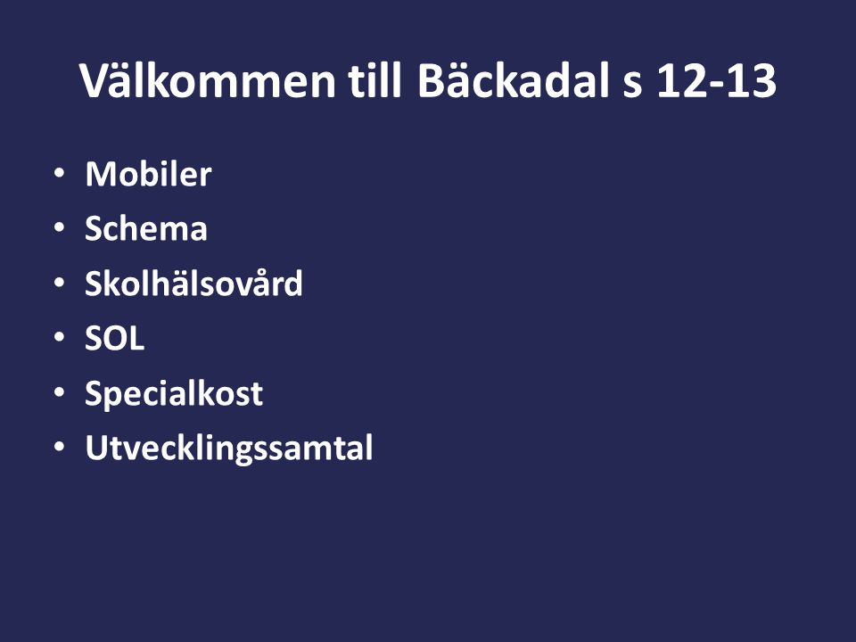 Välkommen till Bäckadal s 12-13