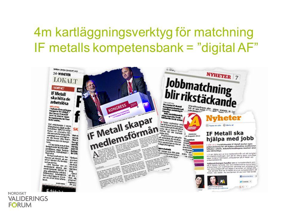 4m kartläggningsverktyg för matchning IF metalls kompetensbank = digital AF