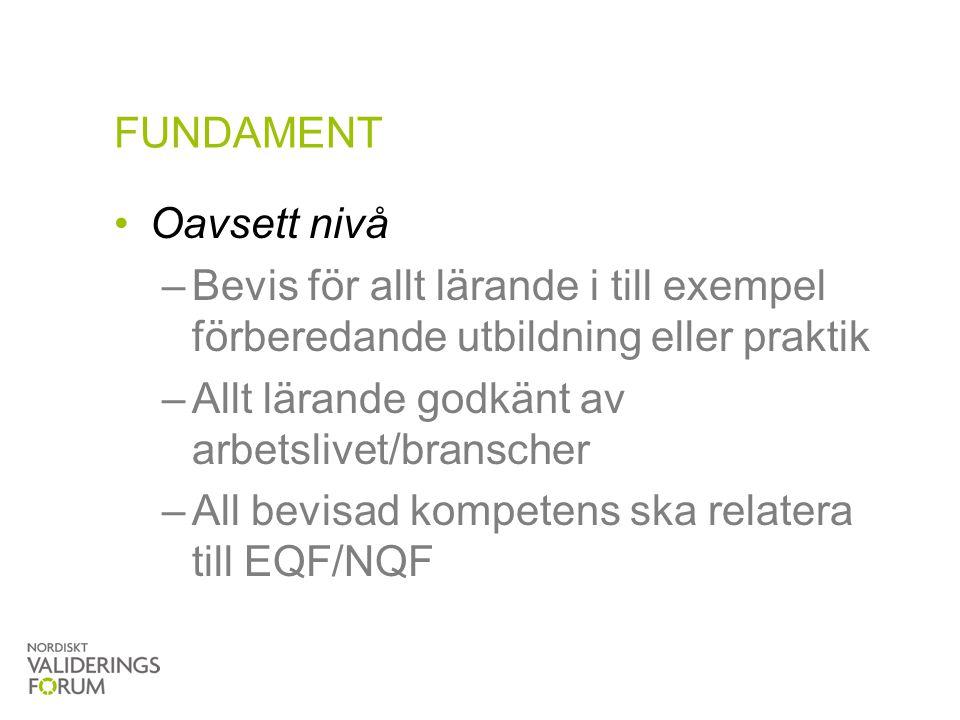 FUNDAMENT Oavsett nivå. Bevis för allt lärande i till exempel förberedande utbildning eller praktik.