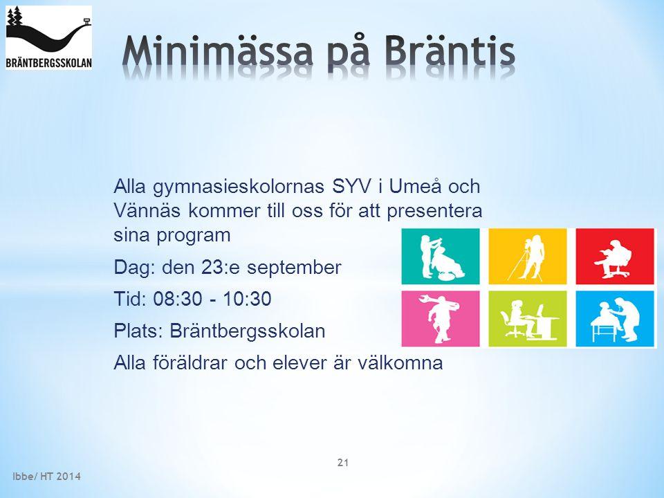 Minimässa på Bräntis Alla gymnasieskolornas SYV i Umeå och Vännäs kommer till oss för att presentera sina program.