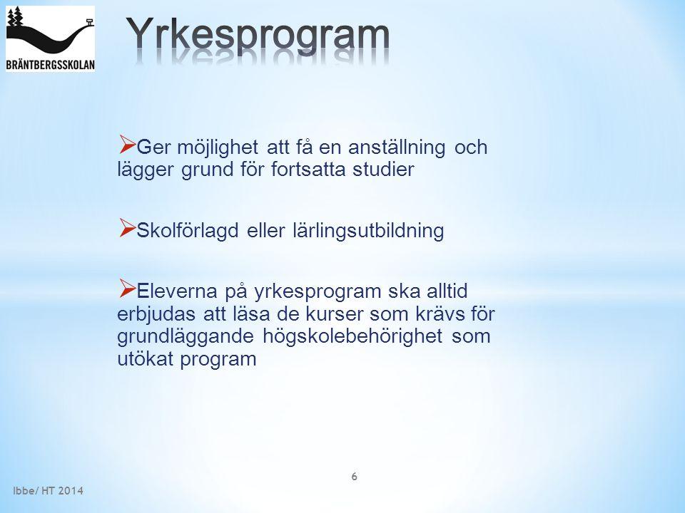 Yrkesprogram Ger möjlighet att få en anställning och lägger grund för fortsatta studier. Skolförlagd eller lärlingsutbildning.
