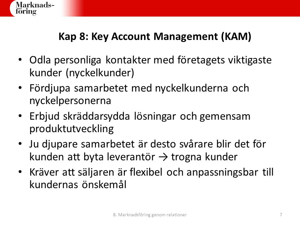 Kap 8: Key Account Management (KAM)