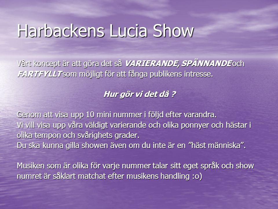 Harbackens Lucia Show Vårt koncept är att göra det så VARIERANDE, SPÄNNANDE och. FARTFYLLT som möjligt för att fånga publikens intresse.