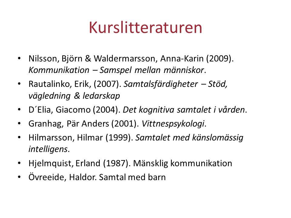 Kurslitteraturen Nilsson, Björn & Waldermarsson, Anna‐Karin (2009). Kommunikation – Samspel mellan människor.
