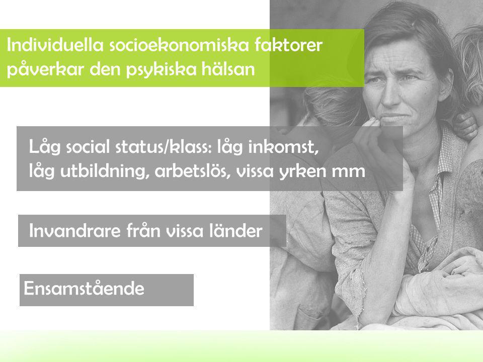 Individuella socioekonomiska faktorer påverkar den psykiska hälsan