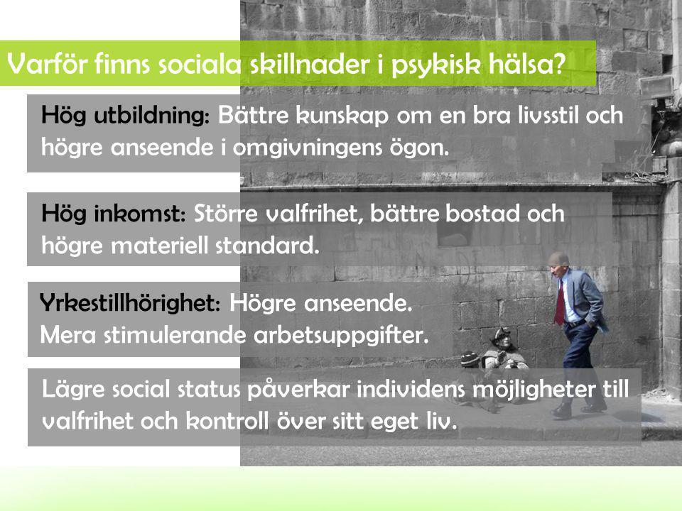 Varför finns sociala skillnader i psykisk hälsa