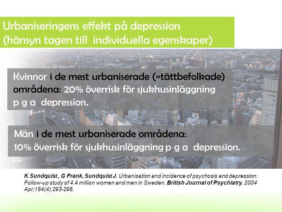 Urbaniseringens effekt på depression (hänsyn tagen till individuella egenskaper)