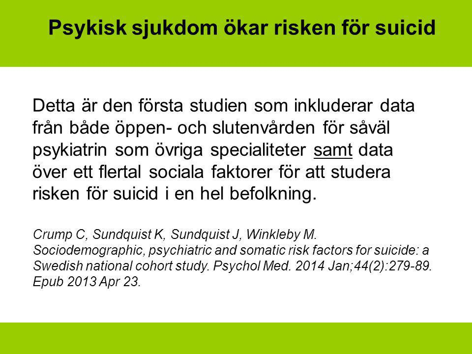 Psykisk sjukdom ökar risken för suicid