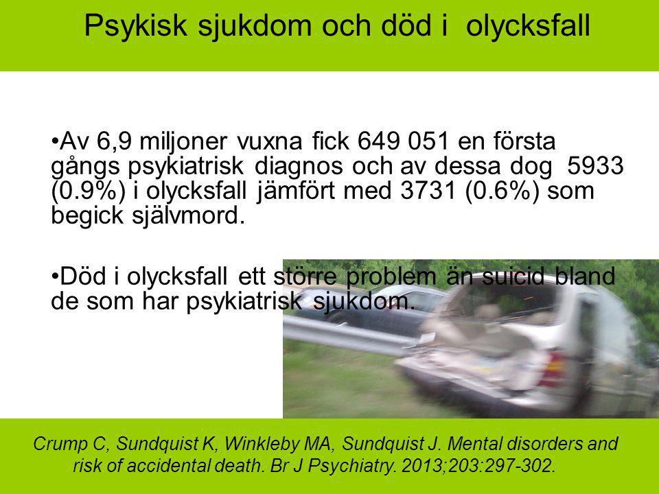 Psykisk sjukdom och död i olycksfall
