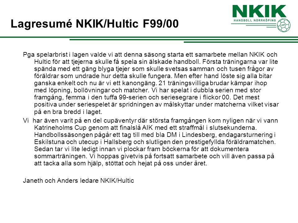 Lagresumé NKIK/Hultic F99/00