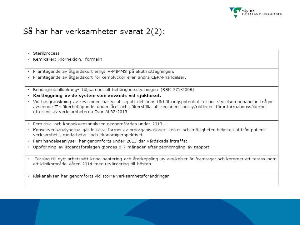 Så här har verksamheter svarat 2(2):
