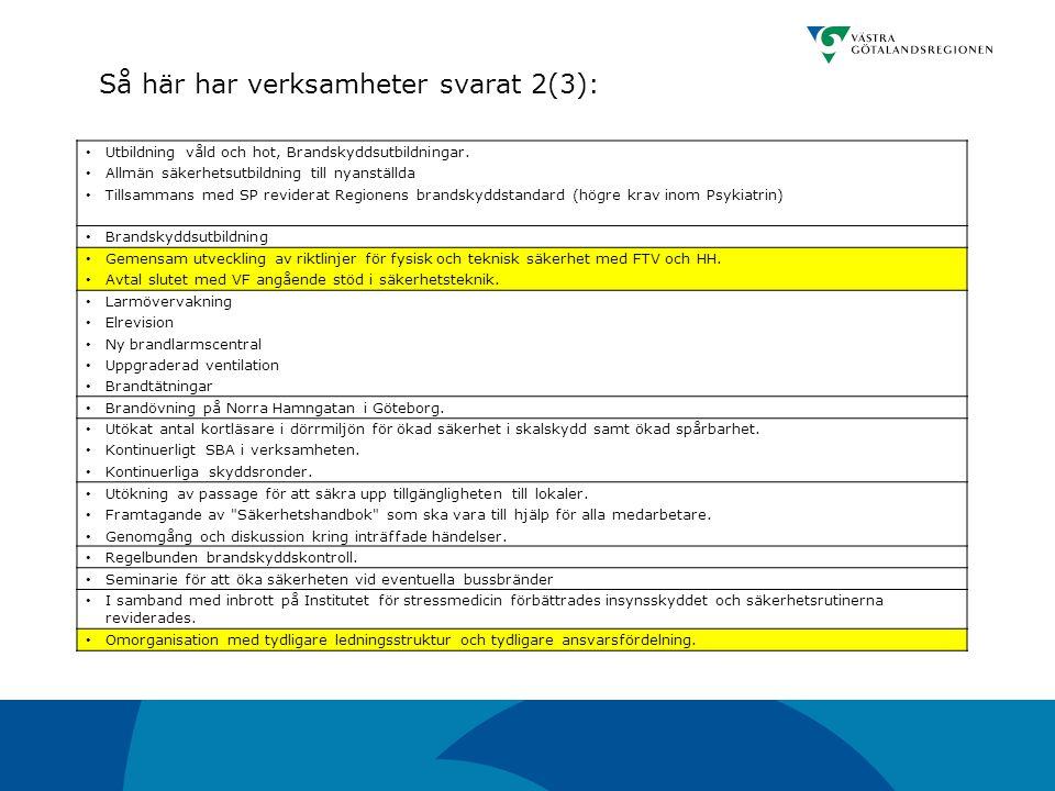 Så här har verksamheter svarat 2(3):