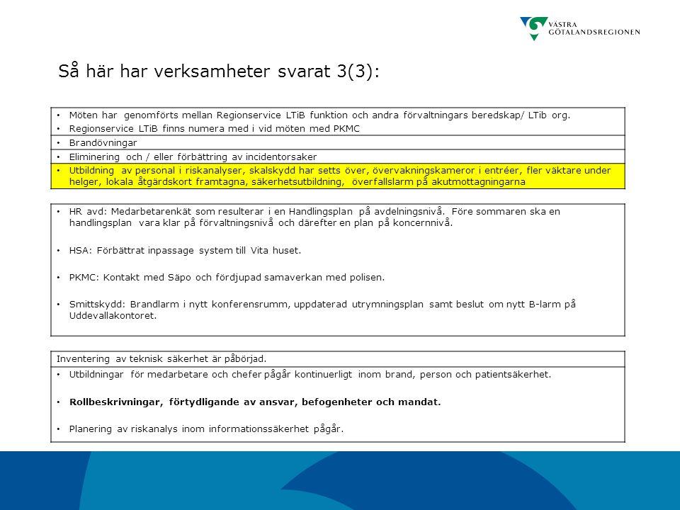 Så här har verksamheter svarat 3(3):
