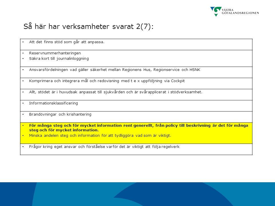 Så här har verksamheter svarat 2(7):