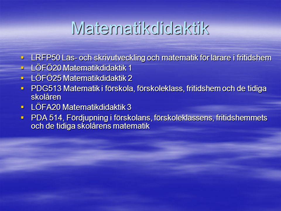 Matematikdidaktik LRFP50 Läs- och skrivutveckling och matematik för lärare i fritidshem. LÖFÖ20 Matematikdidaktik 1.