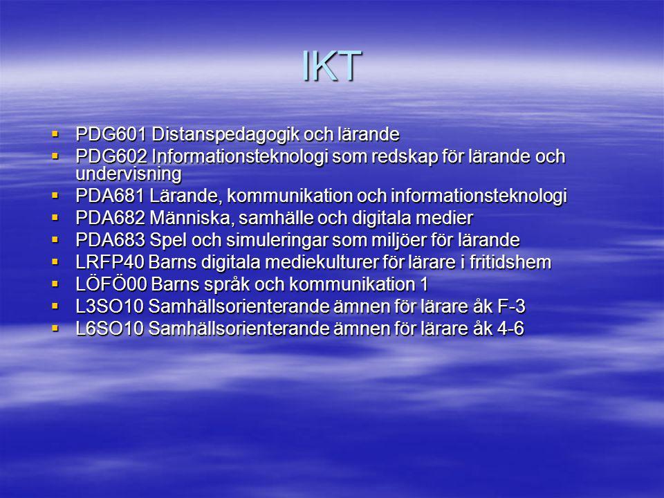 IKT PDG601 Distanspedagogik och lärande
