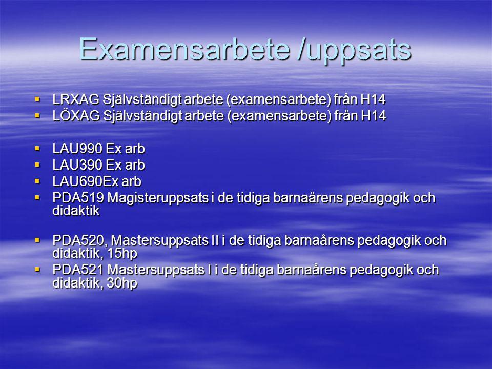 Examensarbete /uppsats