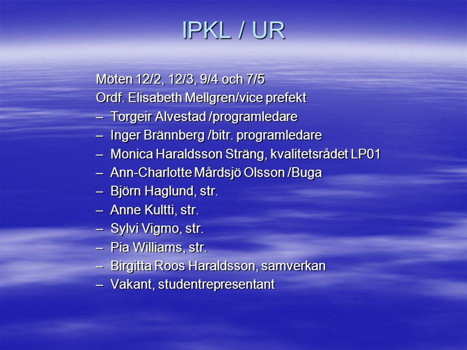 IPKL / UR Möten 12/2, 12/3, 9/4 och 7/5. Ordf. Elisabeth Mellgren/vice prefekt. Torgeir Alvestad /programledare.