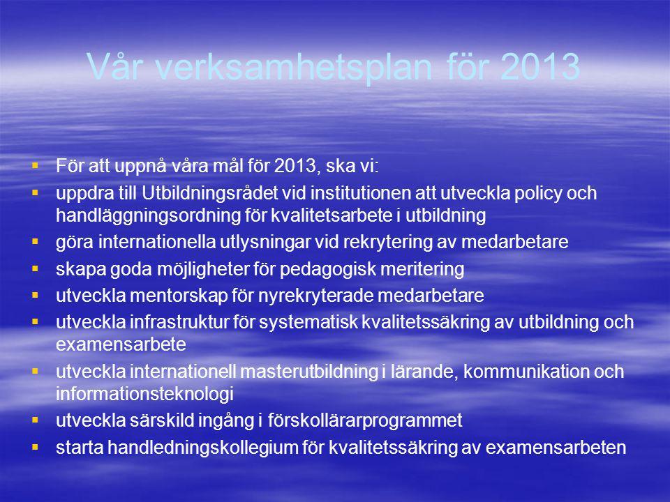 Vår verksamhetsplan för 2013
