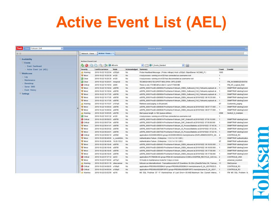 Active Event List (AEL)