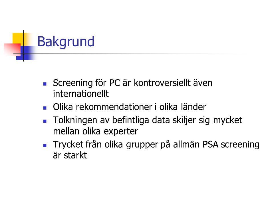 Bakgrund Screening för PC är kontroversiellt även internationellt