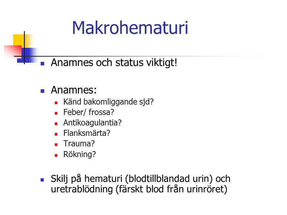 Makrohematuri Anamnes och status viktigt! Anamnes: