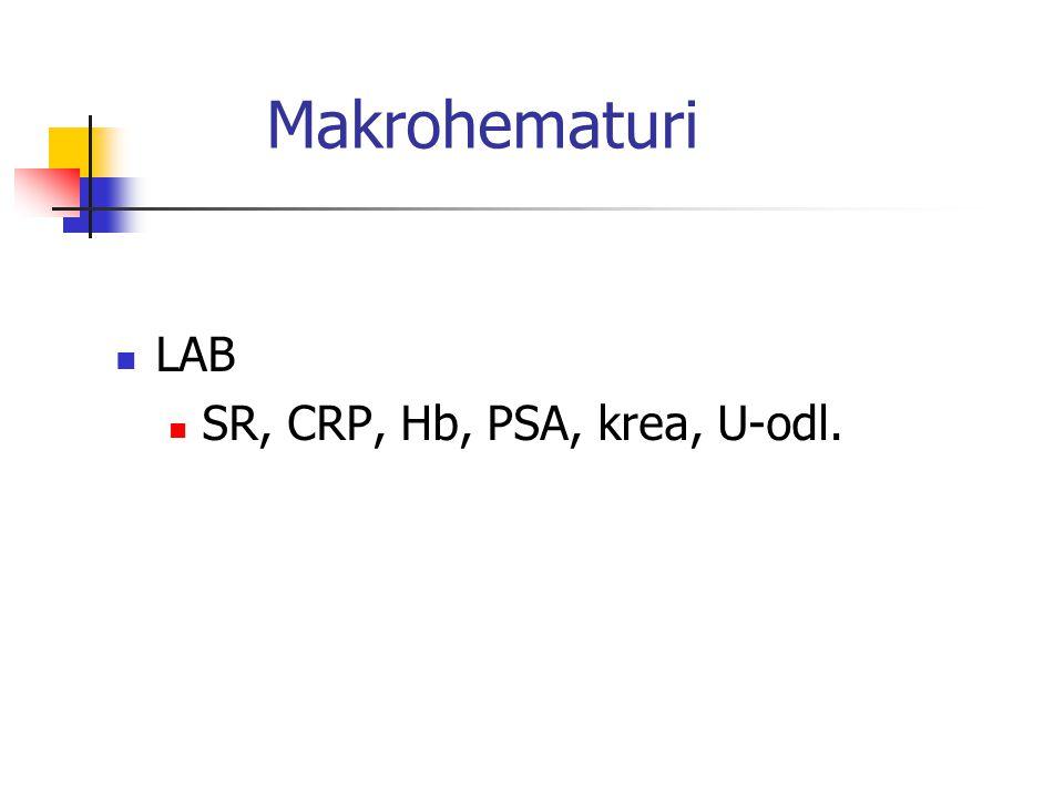 Makrohematuri LAB SR, CRP, Hb, PSA, krea, U-odl.