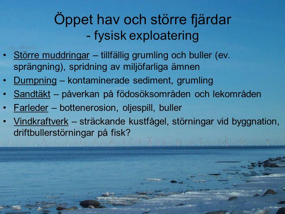 Öppet hav och större fjärdar - fysisk exploatering