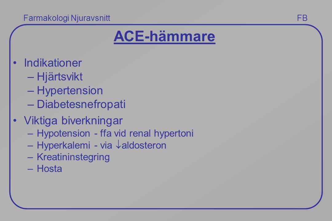 ACE-hämmare Indikationer Hjärtsvikt Hypertension Diabetesnefropati