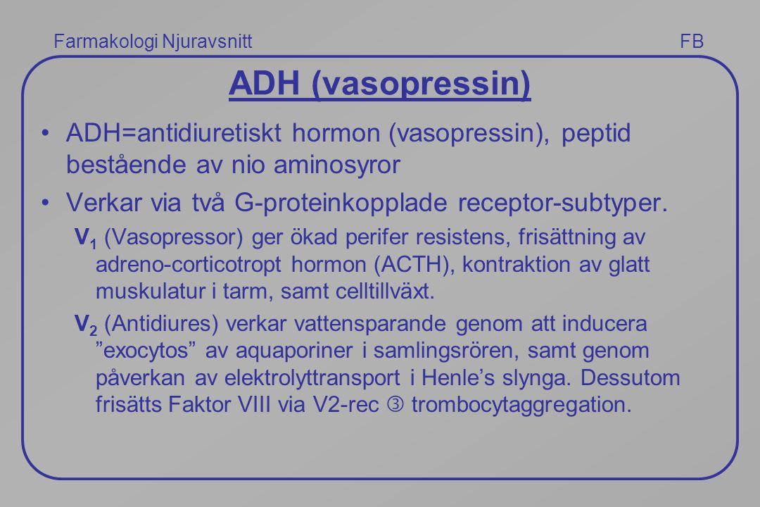 ADH (vasopressin) ADH=antidiuretiskt hormon (vasopressin), peptid bestående av nio aminosyror. Verkar via två G-proteinkopplade receptor-subtyper.