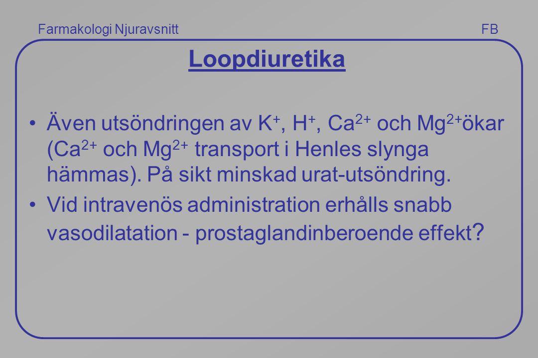 Loopdiuretika Även utsöndringen av K+, H+, Ca2+ och Mg2+ökar (Ca2+ och Mg2+ transport i Henles slynga hämmas). På sikt minskad urat-utsöndring.