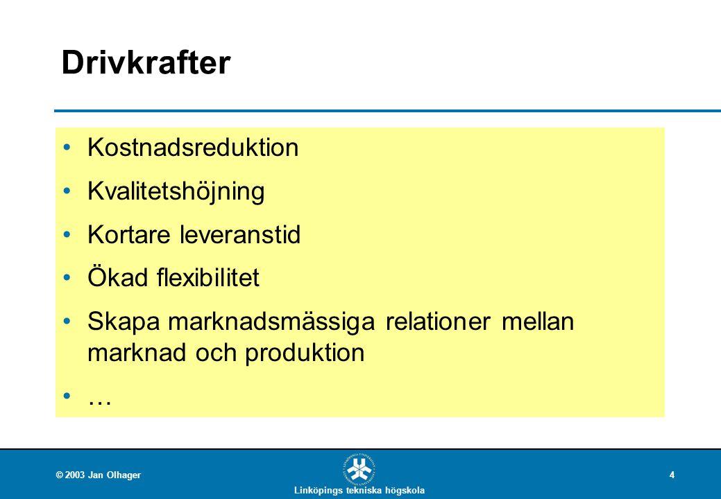 Drivkrafter Kostnadsreduktion Kvalitetshöjning Kortare leveranstid