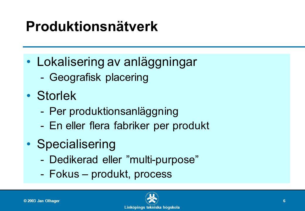 Produktionsnätverk Lokalisering av anläggningar Storlek Specialisering